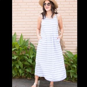 J Jill▪️Love Linen long tank Striped Maxi Dress. M